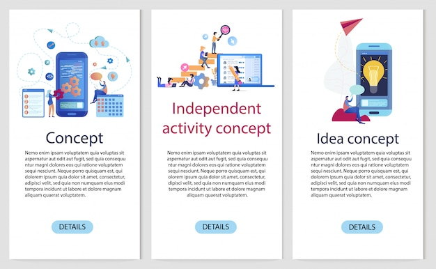 Mobiele app onafhankelijke ontwikkeling bannersjabloon set