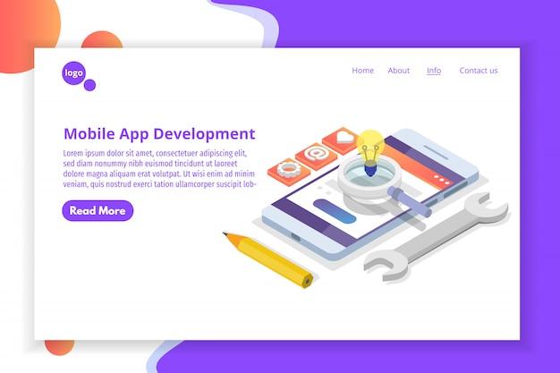 Mobiele app ontwikkeling isometrisch concept. bestemmingspaginasjabloon. illustratie.