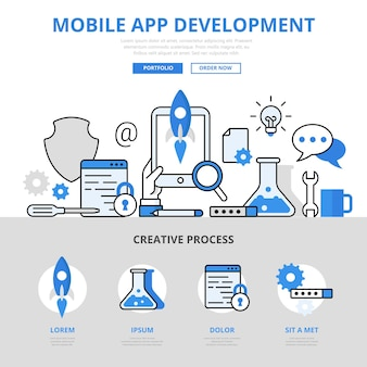 Mobiele app ontwikkeling proces concept platte lijnstijl.