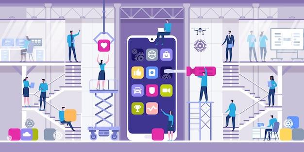 Mobiele app ontwikkelingsconcept met karakters