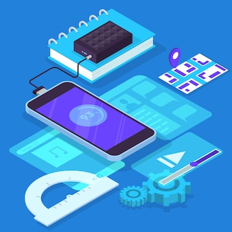 Mobiele app ontwikkelingsconcept. moderne technologie en smartphone-interface. applicatie bouwen en programmeren. isometrische illustratie