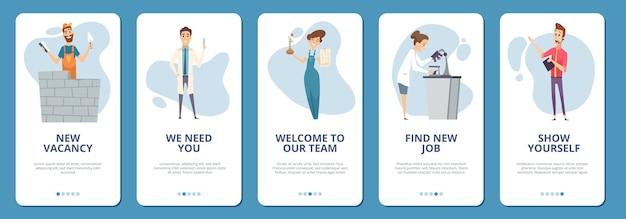 Mobiele app-pagina's voor het zoeken naar werk. verschillende professionals s. arts bouwer architect scheikundige karakters. aanwerving, vacature concept. illustratie app mobiel, pagina-indeling, zoekbaan