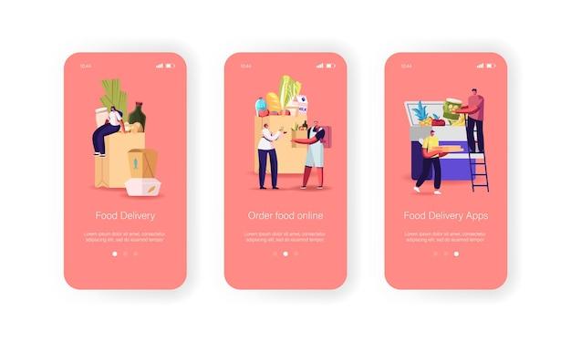 Mobiele app-pagina voor maaltijdbezorging aan boord van schermsjabloon