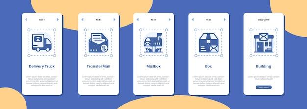 Mobiele app scherm bezorging vrachtwagen overdracht brievenbus brievenbus en gebouw