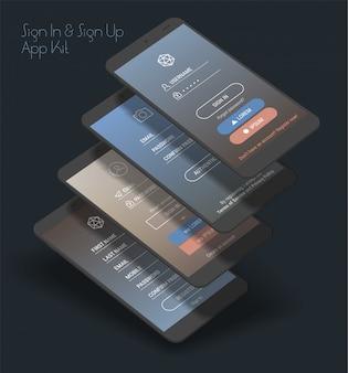 Mobiele app ui aanmelden en aanmelden schermen 3d-kit