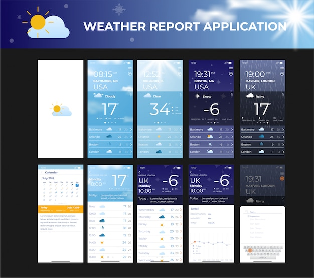 Mobiele app ui kit weather roport sjabloon