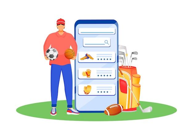 Mobiele app voor sportkleding platte concept illustratie