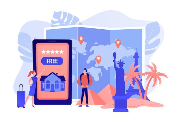 Mobiele app voor toeristenbureau. wereldwijde rondleidingen