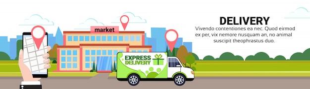 Mobiele app vracht minivan levering transport geo tag bestemming markt locatie transport verzending concept