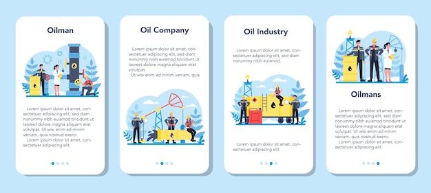 Mobiele applicatie banner set voor olieman en aardolie-industrie. pompkrik die ruwe olie uit de ingewanden van de aarde haalt. olieproductie en zaken.