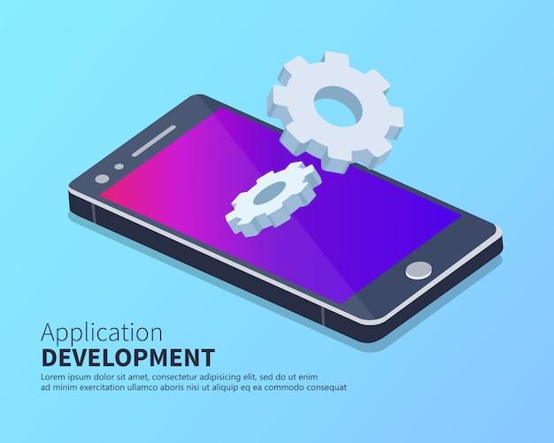 Mobiele applicatie en app ontwikkeling isometrische concept