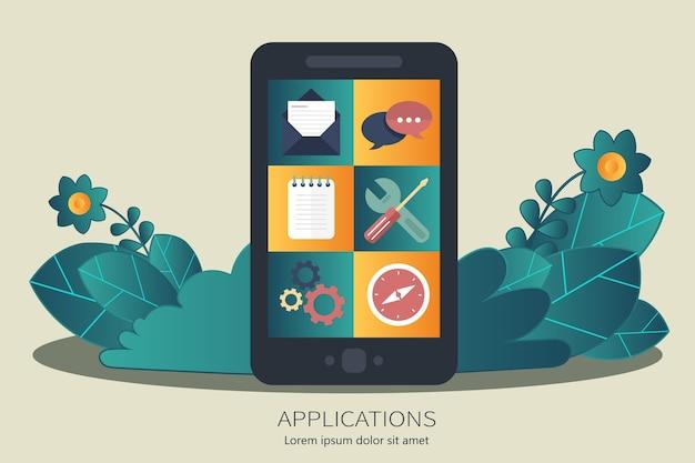 Mobiele applicatie en mobiele app-ontwikkelingsconcept
