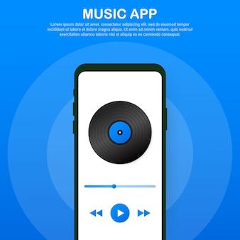 Mobiele applicatie-interface. muziekspeler. muziek app. vector illustratie