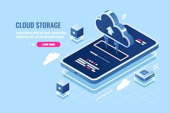 Mobiele applicatie isometrische pictogram, downloadbestand op smartphone van cloud serveropslag