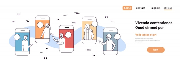 Mobiele applicatie mensen uit het bedrijfsleven online chat bubble sociaal netwerk communicatie concept smartphone scherm horizontaal