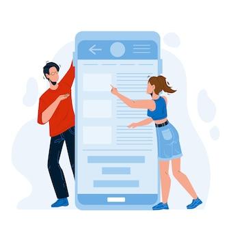 Mobiele applicatie met behulp van man en vrouw vector. jonge jongen en meisje gebruiken telefoontoepassing. tekens klikken op smartphoneschermsoftware, app elektronische technologie platte cartoonillustratie