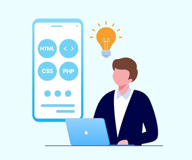 Mobiele applicatie ontwikkelaar programmeertechnologie platte vectorillustratie