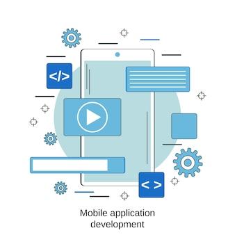 Mobiele applicatie ontwikkeling platte stijl vector ontwerpconcept