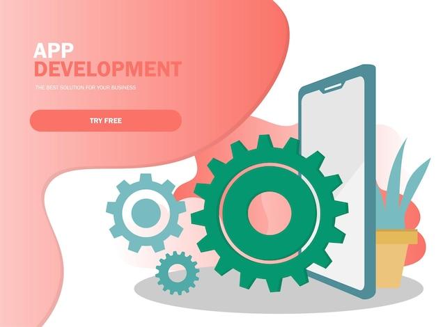 Mobiele applicatie ontwikkeling vectorillustratie. bouwproces voor smartphone-interface, bouw van mobiele app
