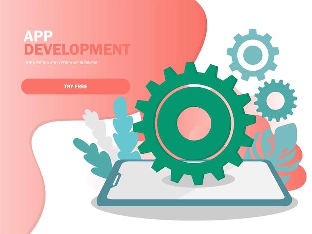 Mobiele applicatie ontwikkeling vectorillustratie. smartphone interface bouwproces, mobiele app gebouwd in moderne kleuren