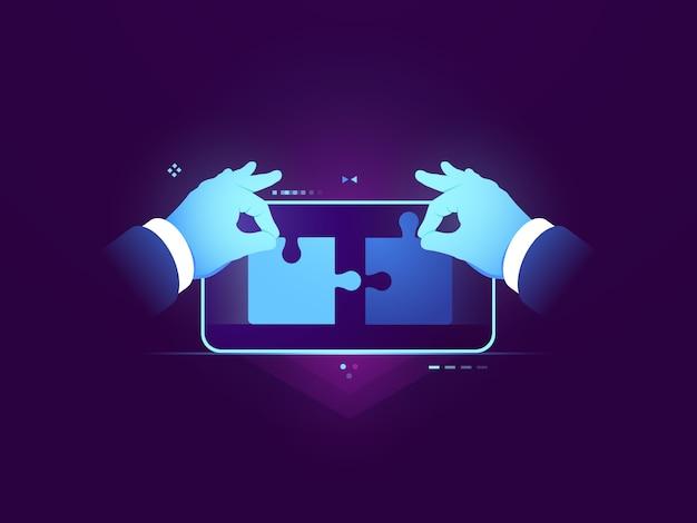 Mobiele applicatie testen, verbinding van twee puzzelstukjes, ux ui ontwerp ontwikkelingsconcept