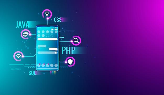 Mobiele applicatie ui ux ontwerp- en ontwikkelingsconcept