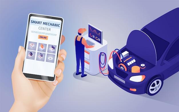 Mobiele applicatie van smart mechanic centre online