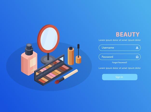 Mobiele applicatie voor cosmetica en schoonheid met isometrische spiegel en mascara