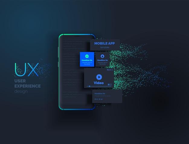 Mobiele apps creatie van een mobiele applicatie 3d-afbeelding