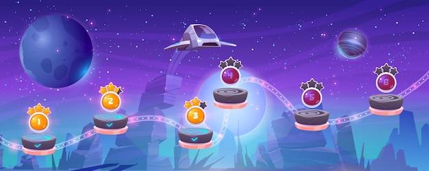 Mobiele arcade met ruimteschip interstellaire shuttle zweeft boven buitenaardse planeet met rotsen en activa op vliegende rotsachtige platforms