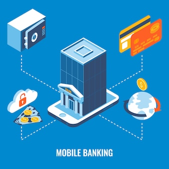 Mobiele bank flat 3d isometrisch