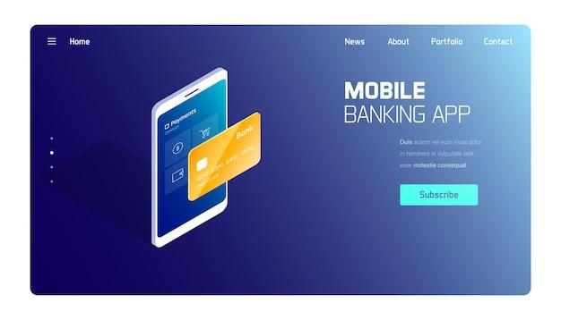 Mobiele bankapplicatie met bestemmingspagina voor gouden kaarten