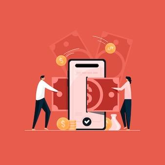 Mobiele bankieren app illustratie