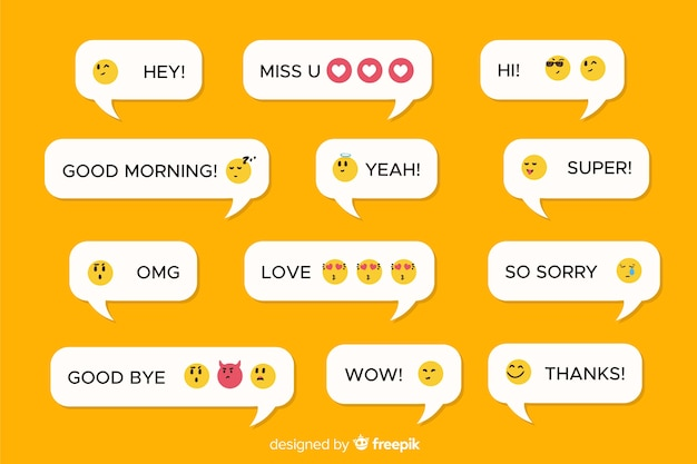 Mobiele berichten met verschillende emoji's Premium Vector
