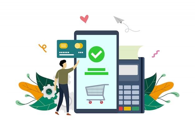 Mobiele betaling, e-commerce markt winkelen online betaling platte illustratie sjabloon