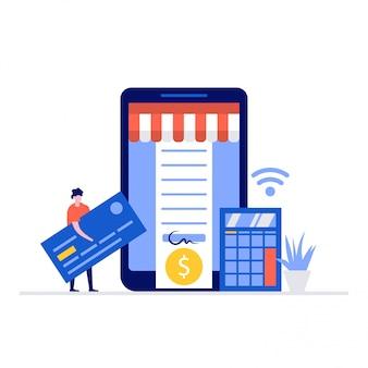 Mobiele betaling illustratie concept met karakters.