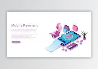 Mobiele betaling isometrische ontwerpsjabloon