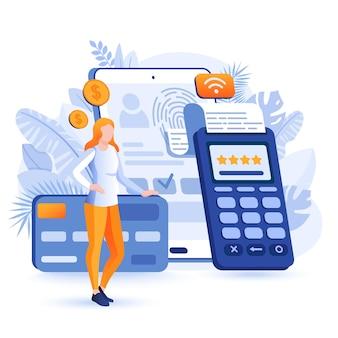 Mobiele betaling platte ontwerp concept illustratie