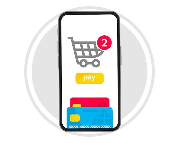 Mobiele betaling. smartphone met online betaling. creditcard op schermtelefoon. online winkelen. nfc-betalingen. bankieren, financiën app en e-betaling. betaal draadloos met creditcard via elektronische portemonnee