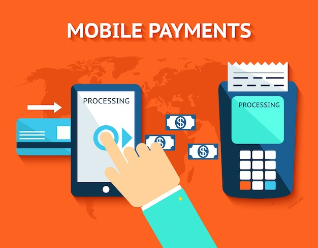 Mobiele betalingen en near field-communicatie. transactie en paypass en nfc. vector illustratie