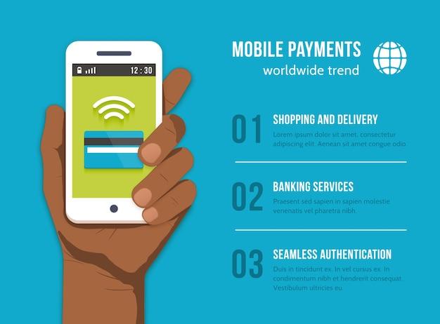 Mobiele betalingen. mobiele telefoon in de hand van de zwarte man. geld financieren bankieren, betalen en kopen, kaartkrediet, apparaatcommunicatie,