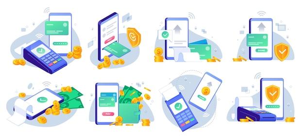 Mobiele betalingen. online geld verzenden van mobiele portemonnee naar bankkaart, app voor overdracht van gouden munten en illustratieset voor e-betalingen.