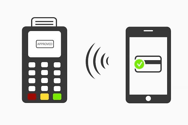 Mobiele betalingen .transactie nfc. mobiel betalen via pos. draadloze transacties uitvoeren.