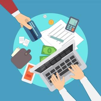 Mobiele betalingen vectorillustratie.