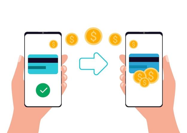 Mobiele betalingsoverdracht app voor internetbankieren smartphone mensen die draadloos geld verzenden en ontvangen