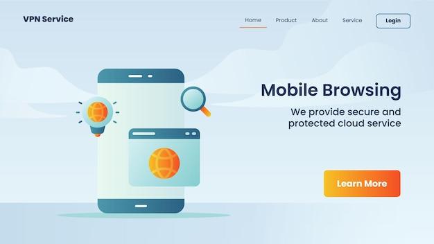Mobiele browse-campagne voor banner van de startpagina van de startpagina van de website