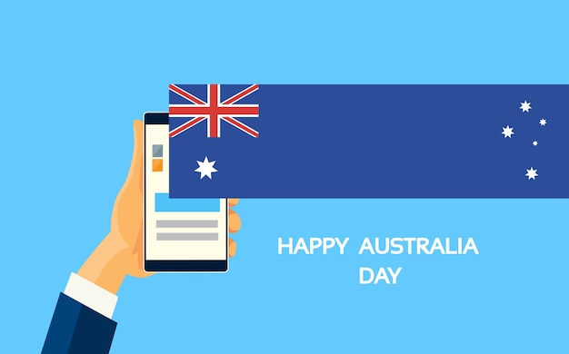 Mobiele cel smart phone hands australia day