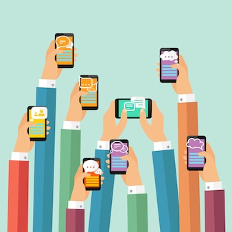 Mobiele chatillustratie