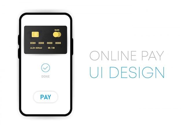 Mobiele contactloze online betaalapp ui mockup op smartphonescherm. sociaal netwerk ontwerpsjabloon. vector illustratie