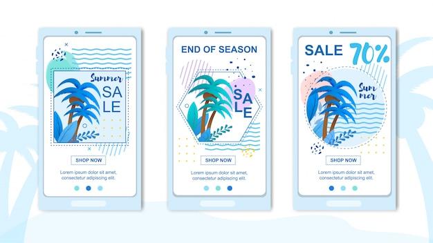 Mobiele covers instellen voor reclame grote zomerverkoop.